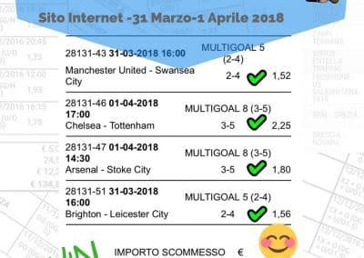 Scommessa Multipla VINCENTE Premiere League 32 Giornata 31 Marzo - 1 Aprile 2018 (Sito internet)