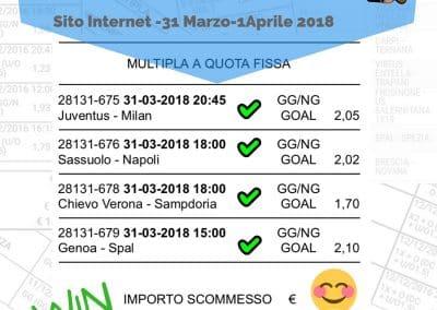 Scommessa Multipla VINCENTE Serie A 30 Giornata 31 Marzo - 1 Aprile 2018 (Sito internet)