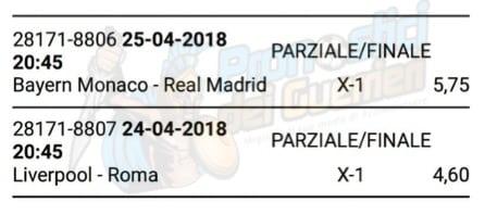 scommessa multipla champions league 24 e 25 aprile 2018