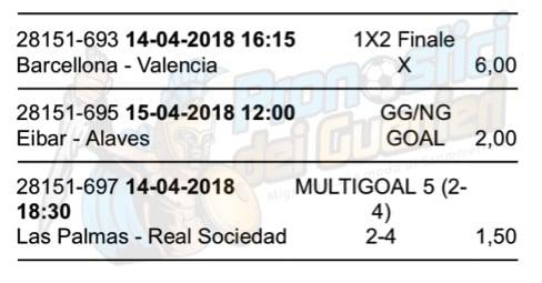 scommessa multipla liga 32 giornata 14 15 aprile 2018