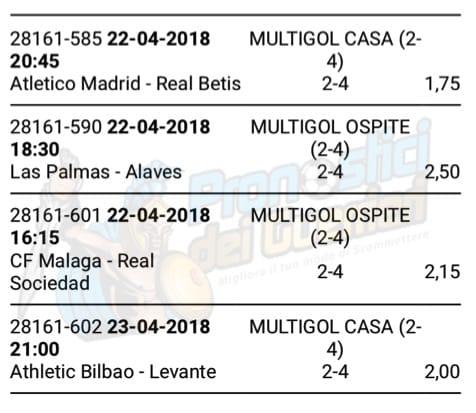 scommessa multipla liga 34 giornata del 22 23 aprile 2018