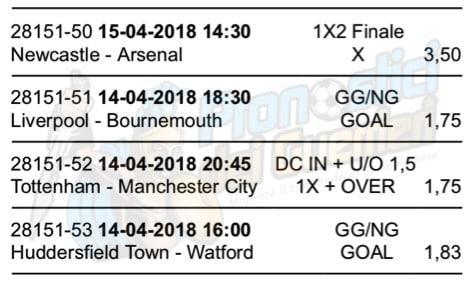 scommessa multipla premier league 34 giornata 14 15 aprile 2018