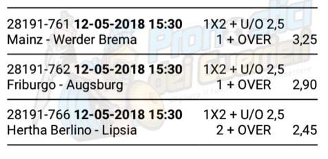 Scommessa multipla bundesliga 34 Giornata 12 maggio 2018