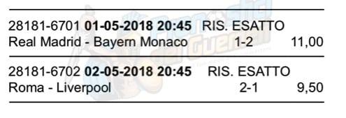 scommessa multipla champions league 1 e 2 maggio 2018