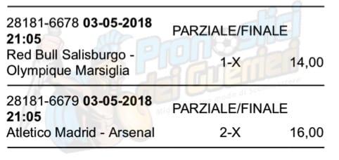 scommessa multipla europa league del 3 maggio 2018