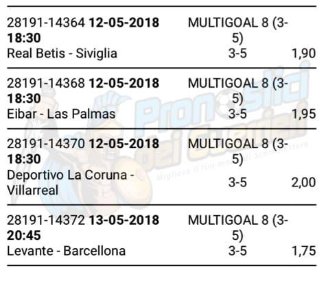 scommessa multipla liga 37 giornata del 12 13 maggio 2018