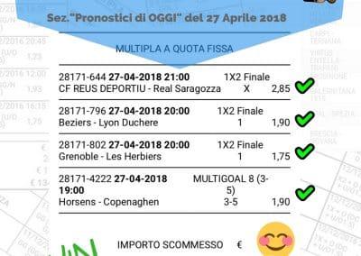scommessa multipla mista vincente del 27 aprile 2018 sezione pronostici di oggi