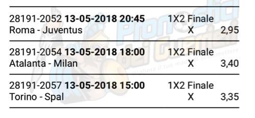 scommessa multipla serie a 37 giornata del 13 maggio 2018