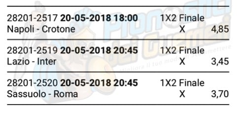 scommessa multipla serie a 38 giornata del 20 maggio 2018