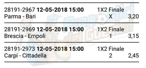 scommessa multipla serie b 41 giornata del 12 maggio 2018