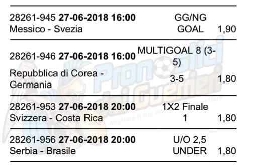 pronostici oggi mondiali russia 2018 27 giugno scommessa multipla