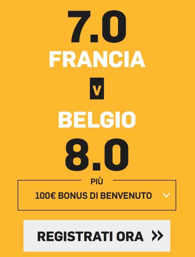 bonus a quota maggiorata betfair del 10 luglio 2018 francia belgio semifinale