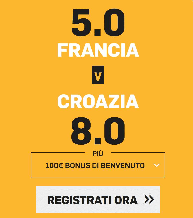 bonus scommesse a quota maggiorata betfair finale mondiale francia croazia del 15 luglio 2018