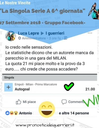 scommessa singola Serie a 6 giornata vincente del 27 sett 2018 gruppo facebook