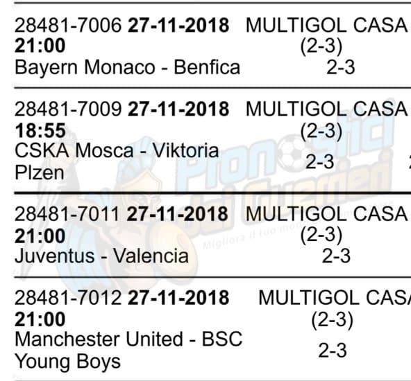pronostici champions league 27 novembre 2018