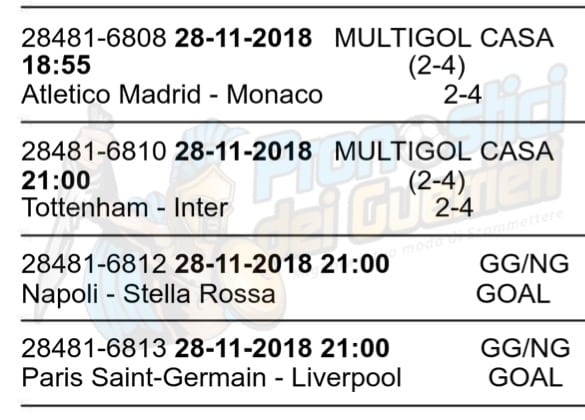 pronostici champions league 28 novembre 2018
