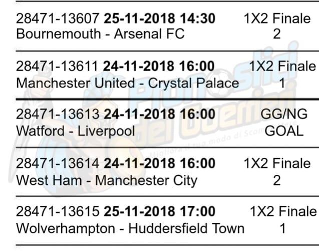 pronostici premier league 13 giornata 24 25 novembre 2018