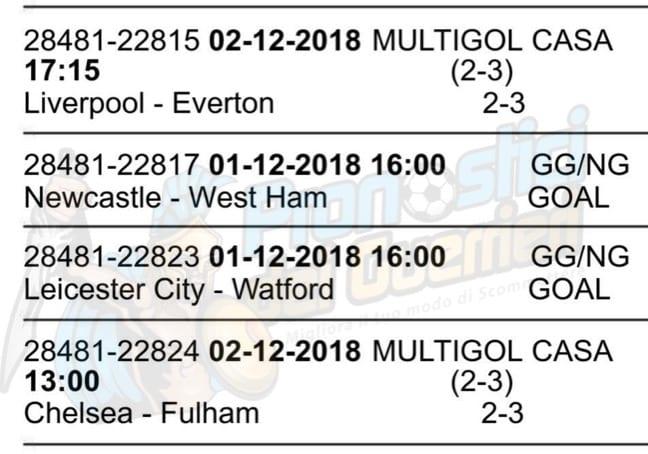 pronostici premier league 14 giornata 1 2 dicembre 2018