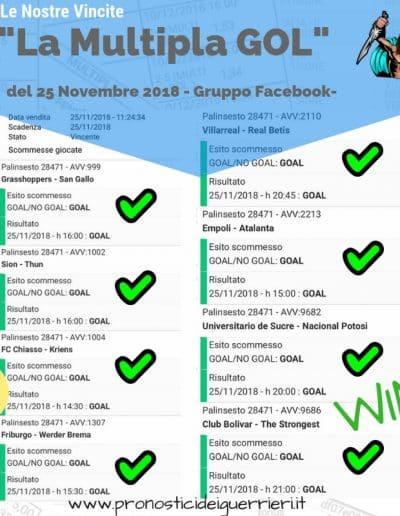 scommessa multipla gol VINCENTE del 25 novembre 2018 gruppo facebook