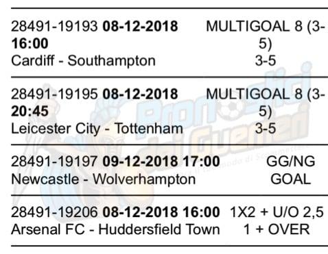 pronostici premier league 16 giornata 8 9 dicembre 2018