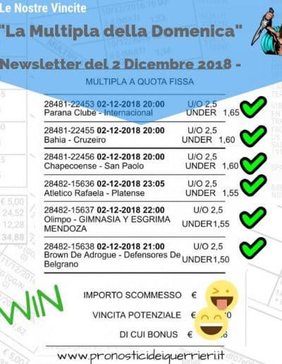 scommessa multipla VINCENTE inserita nella Newsletter del 2 Dicembre 2018