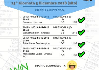 scommessa multipla VINCENTE premiere league 15 giornata 5 Dicembre 2018 -sito-