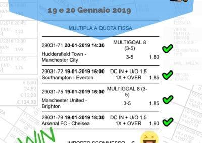 Scommessa Multipla VINCENTE Premiere League 23a giornata del 19 20 Gennaio 2019 -sito-