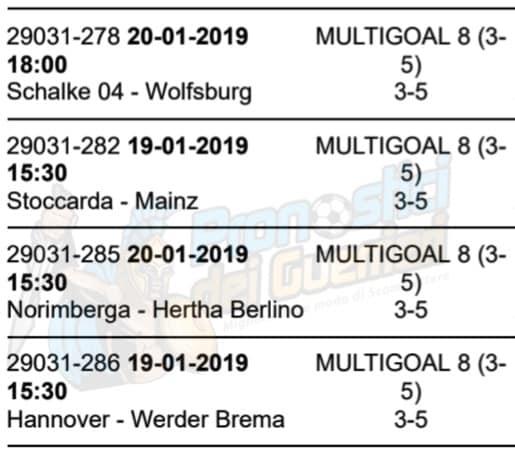 pronostici bundesliga 18 giornata 19 20 gennaio 2019