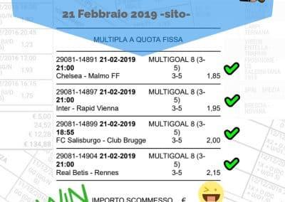 Scommessa Multipla VINCENTE Europa League 21 Febbraio 2019 -sito-