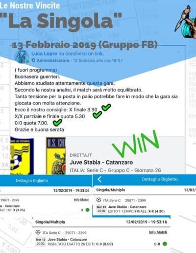 Scommessa Singola VINCENTE Serie C 13 Febbraio 2019 -gruppo facebook-