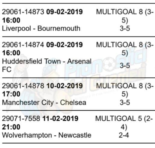 pronostici premier league 26 giornata 9 10 11 feb 2019