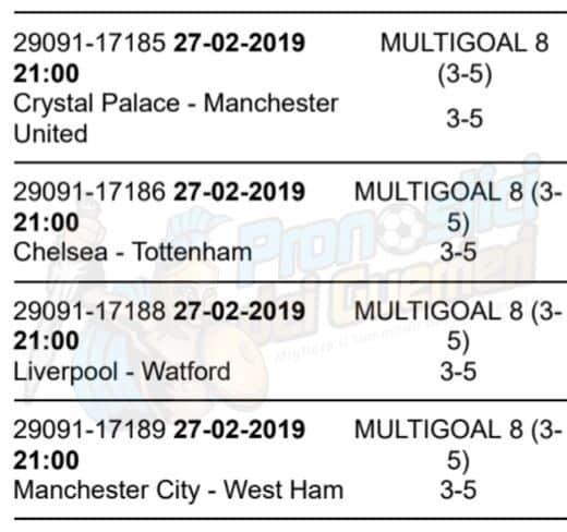 pronostici premier league 28 giornata 27 febbraio 2019