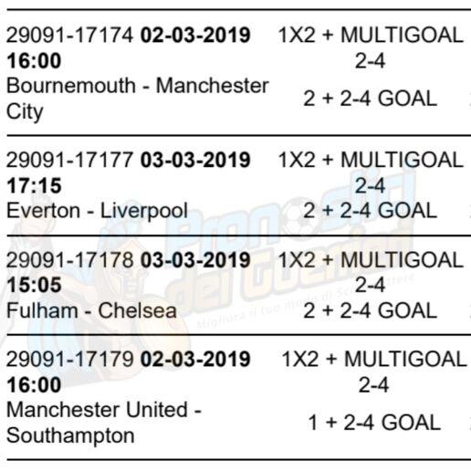 pronostici premier league 29 giornata 2 3 marzo 2019