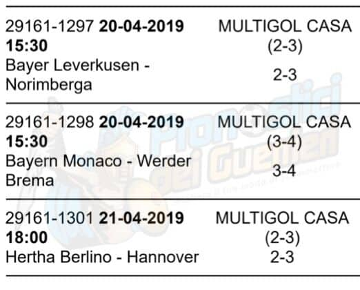 pronostici bundesliga 30 giornata 20 21 aprile 2019