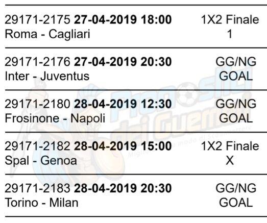Pronostici Serie A 34 Giornata La Multipla Del 27 E 28 Aprile 2019