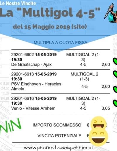 Scommessa Multipla Multigol 4-5 vincente del 15 maggio 2019 -sito sez pronostici di oggi-