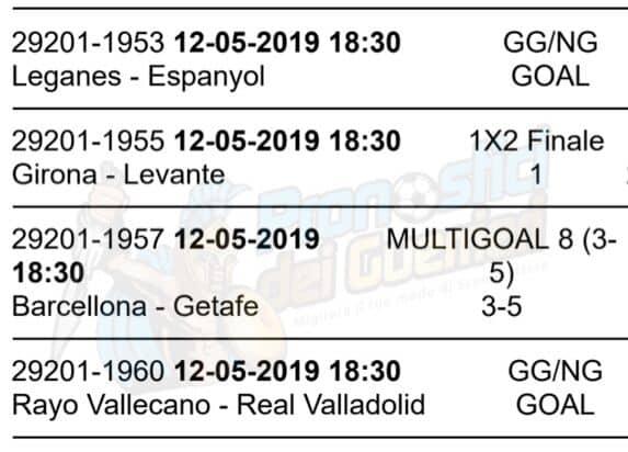 pronostici liga 37 giornata 12 maggio 2019