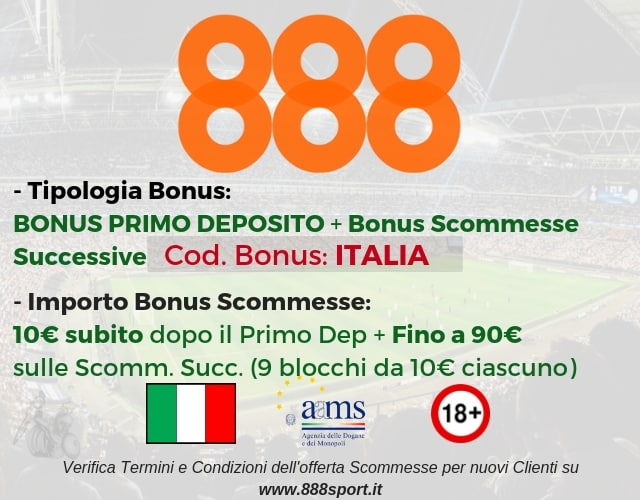bonus scommesse 888