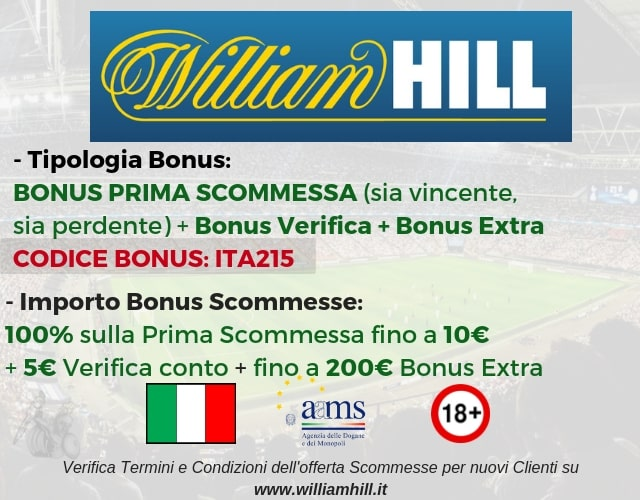 bonus scommesse williamhill