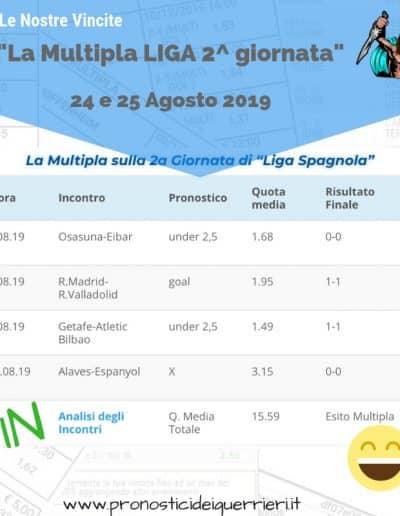 Scommesse Multipla Liga Vincente del 24-25 Agosto 2019 sito internet