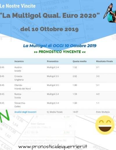 Scommessa Multipla Vincente Euro 2020 del 10 ottobre 2019 sito internet
