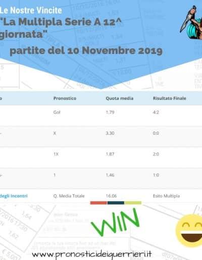 MULTIPLA Vincente Serie a 12 giornata del 10 Novembre 2019 -sito internet-