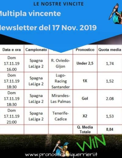 Multipla Vincente Newsletter del 17 novembre 2019