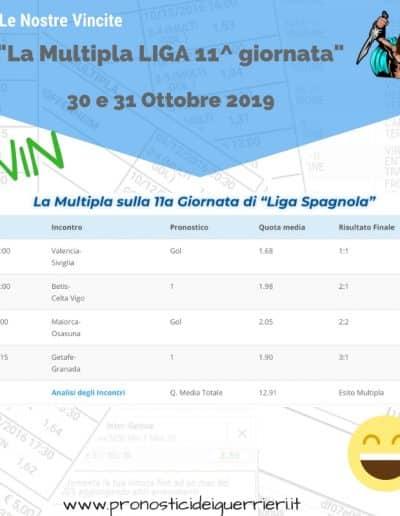Scommessa Multipla Vincente Liga 11 giornata del 30 e 31 ottobre 2019 sito internet