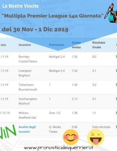 Scommessa Multipla VINCENTE Premier League 14 giornata del 30 nov 1 dic 2019