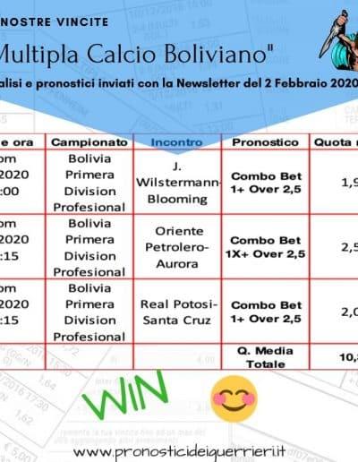 Multipla Bolivia vincente newsletter del 2 Febbraio 2020