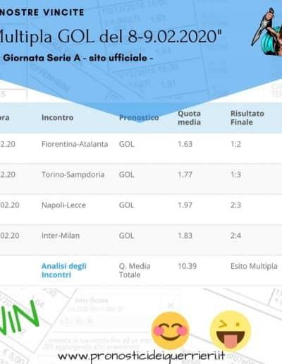 Multipla gol vincente serie a 23 giornata del 8 9 Febbraio 2020