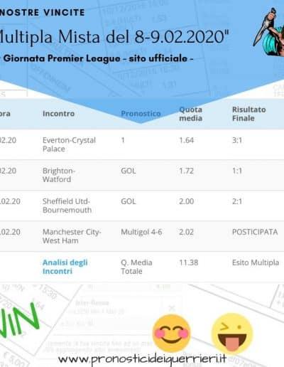Multipla mista vincente Premier League 26 giornata del 8 9 Febbraio 2020
