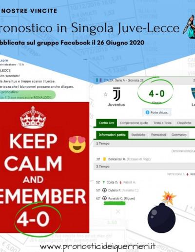 Singola ris esatto e marcatore Juve Lecce gr facebook 26 giugno 2020