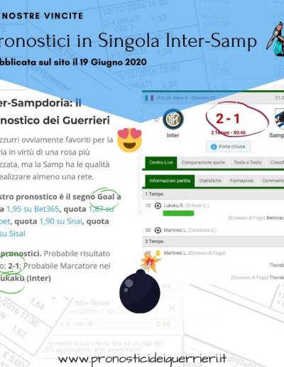 Singole vincenti Inter Samp del 21 Giugno 2020